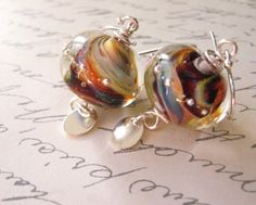 Brown Lampwork Glass Beads on Sterling Silver by SometimesSummer, $35.00