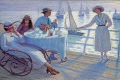 'On the deck of a steamer'  by Lucien Tanquerey (1865–1938). Signed. Oil on canvas, 38 x 56 cm (15 x 22 in). www.walkergalleries.com