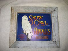 From our shop on Etsy.  Vintage Snow Owl Brand Apple Crate Label in by RefurbishedbyRufus, $42.00