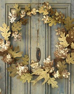 metal wreath by Wendy Addison Noel Christmas, Christmas Crafts, Christmas Decorations, Autumn Wreaths, Holiday Wreaths, Spring Wreaths, Summer Wreath, Fancy Houses, Deco Floral