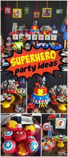 Check out this fun superhero birthday party! See more party ideas at CatchMyParty.com!