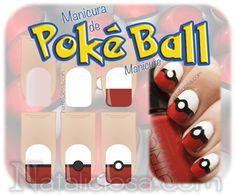 tutorial poke ball nail art