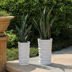Tall White Planter, Tall Outdoor Planters, White Planters, Large Planters, Outdoor Decor, Outdoor Living, Outdoor Projects, Garden Projects, Tall Potted Plants