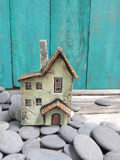 Old French country house - OOAK ceramic porcelain miniature house 1:144th inch scale via Etsy
