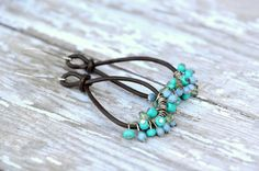 Bohemian, Dark Brown Leather, Bead Dangles, Teal Turquoise, Light Blue, Patina, Pale Green, Silver, Long Earrings