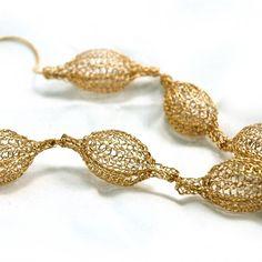 Long Feminine necklace , seven crocheted pods stringed on gold necklace - by Yoola Wire Crochet, Crochet Hooks, Urban Jewelry, Garnet Earrings, Handmade Wire, Geometric Jewelry, Unique Necklaces, Gold Filled Chain, Beaded Jewelry