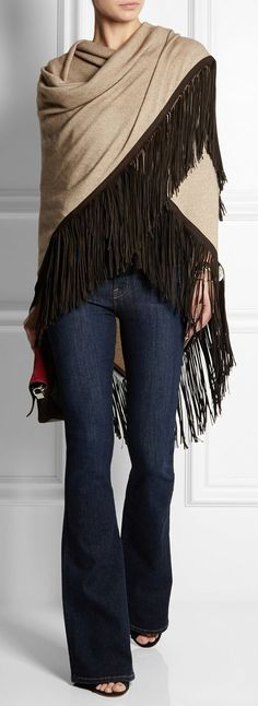 leather-fringed cashmere shawl by Finds