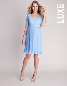 Lace Top Pleated Maternity Dress | Seraphine >>> www.Seraphine.com maternity style | maternity fashion | pregnancy style | style the bump | maternity clothes | pregnancy fashion | fashion mama | party wear | Seraphine | Expecting mom | Baby bump | mum to be | fashion | baby shower | celebration.