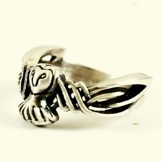 Celtic Barn Owl Ring in Sterling Silver Raised Woven by Spoonier, $65.00