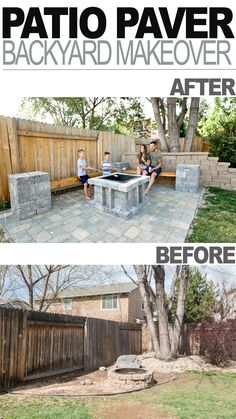 Backyard Landscaping Discover DIY Patio Paver Backyard Makeover We transformed out backyard area into a cozy fire pit area using pavers. See the detailed tutorial for this perfect backyard project. Backyard Seating, Backyard Patio Designs, Fire Pit Backyard, Diy Patio, Budget Patio, Back Yard Fire Pit, Inexpensive Patio Ideas, Outdoor Patio Ideas On A Budget Diy, Back Yard Patio Ideas