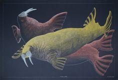 """Swimming Walrus"" (2014) - Tim Pitsiulak (Inuit) Medium: graphite, coloured pencil, paper (black). Size: 30 x 43.75 inches."