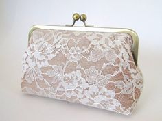 Silk And Chantilly Lace Clutch-Champagne/Ivory-Wedding Clutch-Lace Clutch-Bridal Clutch-Bags And Purses via Etsy