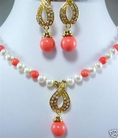 7-8MM White Akoya Cultured Pearl /Pink Coral Necklace Earring Set>^^> stone watch Quartz stone CZ crystal (A0423)