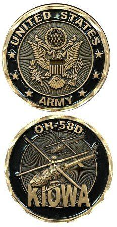 United States Military US Armed Forces Army OH58D Kiowa Helicopter  Good Luck Double Sided Collectible Challenge Pewter Coin by Eagle Crest ** See this great product.Note:It is affiliate link to Amazon.