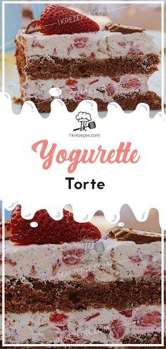 Yogurette-Torte - Torten , Yogurette-Torte Zutaten 2 dünne Biskuitboden, helle 2 Becher Schmand 2 Becher Schlagsahne 750 g Erdbeeren 2 Tafeln Schokoriegel (Yogurette, je 8 Riege. Whipped Cream, Sour Cream, Cake Recipes, Dessert Recipes, Desserts, Torte Au Chocolat, Torte Recipe, Chocolate Torte, Cake Games