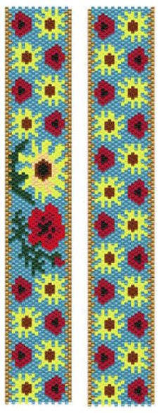 Sunflowers and Poppies Bracelet Pattern at Sova-Enterprises.com. Lots of free beading patterns and tutorials on this site!