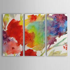 Pintada a mano Abstracto Tres Paneles Lienzos Pintura al óleo pintada a colgar For Decoración hogareña – EUR € 63.69