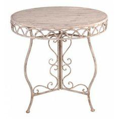 Gezellig en romantisch tafeltje met een houten blad.Het tafeltje heeft een ouderwetse uitstraling.