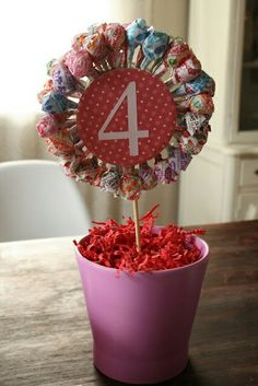 Lollipop centerpiece with age in the middle