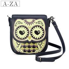 Aza women's handbag owl print casual cowhide small change packet messenger bag 10283