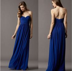Fashion Sweetheart Elegant Long Bridesmaid Dress, Luxury Pleat Chiffon Long Royal Blue Bridesmaid Dresses