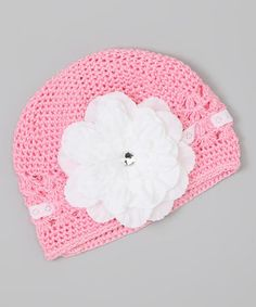 Take a look at this Pink & White Flower Crocheted Beanie by The Bow Lady on #zulily today!http://www.zulily.com/invite/afreitas250