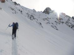 Breaking trail up to Col Berard, Chamonix