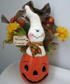 Halloween Pumpkin and Ghost Decoration  One by craftylittlekitten, $18.50