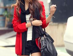 my favorite colors, scarf, shorts, and an oversized purse. perfect. #Clothes #Outfit