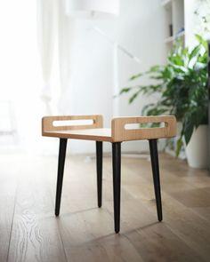 Taburete / bandeja / banco de madera de roble macizo y patas en roble