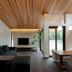 Japanese-Style Home located in Minoh City, Osaka. Living Room Images, Space Interiors, Simple Interior, Home Living Room, Apartment Design, Interior Design, Home Styles, House Interior, Japanese Modern House