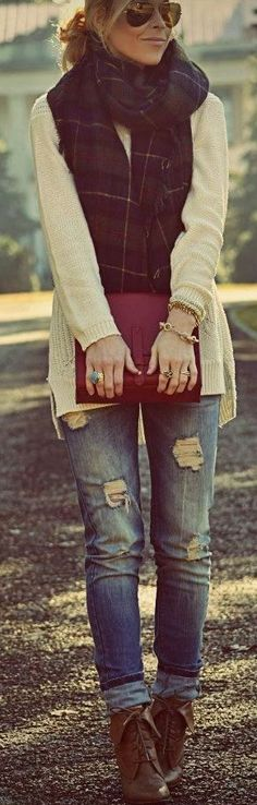 Plaid scarf + boyfriend jeans + booties