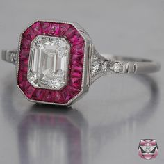 I LOVE this. Art Deco, diamonds and rubies. I don't think I'd want a colored engagement ring, but I want this for my right hand. http://www.faycullen.com/Art-Deco-Rings/9187/