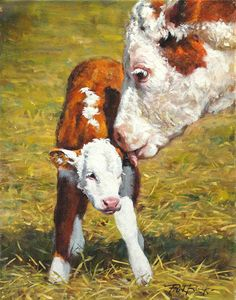 New to the World by Phil Beck - Award winning Figurative Artist, Western oil paintings, Waterhouse Gallery Santa Barbara California Farm Paintings, Animal Paintings, Animal Drawings, Cow Photos, Cow Pictures, Cow Painting, Painting & Drawing, Hereford Cattle, Farm Art