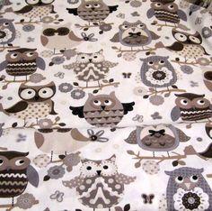 Große Eulen -schwarz,weiss,beige  einfach anschauen :-)     Süßer Eulenstoff für Kissen, Gardinen, Hüllen....       Wunderschöner Stoff für deine krea