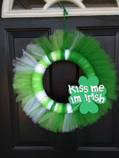 St. Patrick's Day Tulle Kiss Me Wreath by HomeGrownDeco on Etsy, $29.95