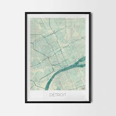 Detroit art posters and prints of your favorite city. Unique map design of Detroit. Perfect for your house and office or as a gift for friend.Map Print - Minimalist City Map Art Poster - Interior Ideas, Wall Art Gift, Cool Art Prints, Unique Map Posters, Cheap Bedroom Gifts, Decorative Design