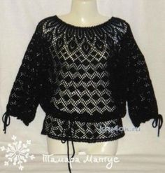 Ажурная туника Черная орхидея. Работа Тамары Матус Cotton Viscose, Lace Making, Crochet Blouse, Crochet Lace, Crochet Crafts, Crochet Tops, Black Orchid, Crochet Fashion, Beautiful Crochet