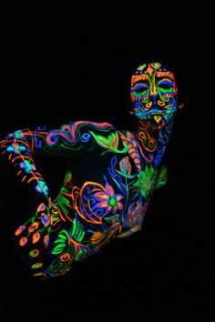 black light body paint party