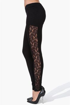 Leggings with lace panels.