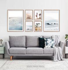 Coastal Wall Art, Beach Wall Art, Coastal Decor, Surf Decor, Wall Art Decor, Wall Art Sets, Diy Wall Decorations, Blue Wall Decor, Cool Wall Art