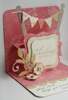 Would use as a birthday card with a change of message. Pop up card. Pop up Easel Cards, 3d Cards, Cute Cards, Stampin Up Cards, Your Cards, Kirigami, Fancy Fold Cards, Folded Cards, Karten Diy