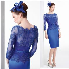 Vestidos de Madrinha Sheath Knee Length Short Mother of the Bride Dress Gowns Royal Blue Lace Beads 3/4 Sleeves 2015 Custom Made M2179