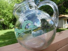 Fill this with lemonaide. Clear Glass Tilted Ball Pitcher with Faded by TheMichiganAttic