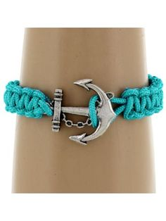 Blue Zircon Paracord Band Anchor Toggle Bracelet