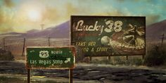 Billboard - Fallout: New Vegas Concept Art // One thing I really enjoy in a game is the social/cultural environment and Fallout exceed all my craziest wishes about that. Billborads, adverstising, soft drink companies (as the now reknown Nuka-Cola and Sunset Sarsaparilla), political propaganda, energy company, highway signs, all is so detailed. It gives to the game feeling of realism and make the player experience even more unique and profound.