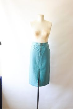 Vintage 80s aquamarine pencil skirt leather by recollectionla, $25.00