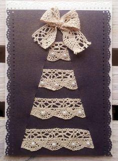 Homemade Christmas cards ideas - Little Piece Of Me Homemade Christmas Cards, Christmas Cards To Make, Homemade Cards, Handmade Christmas, Holiday Cards, Christmas Diy, Fabric Cards, Fabric Postcards, Paper Cards