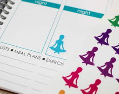 70 colorful yoga girl stickers --- Planner stickers --- Erin Condren --- Scrapbook --- Sku:094