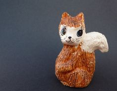 Little Vintage Squirrel, Ceramic Animal Figurine by Philip Laureston, Cute Big-Eyed Pottery Squirrel, Miniature Retro Squirrel Figurine